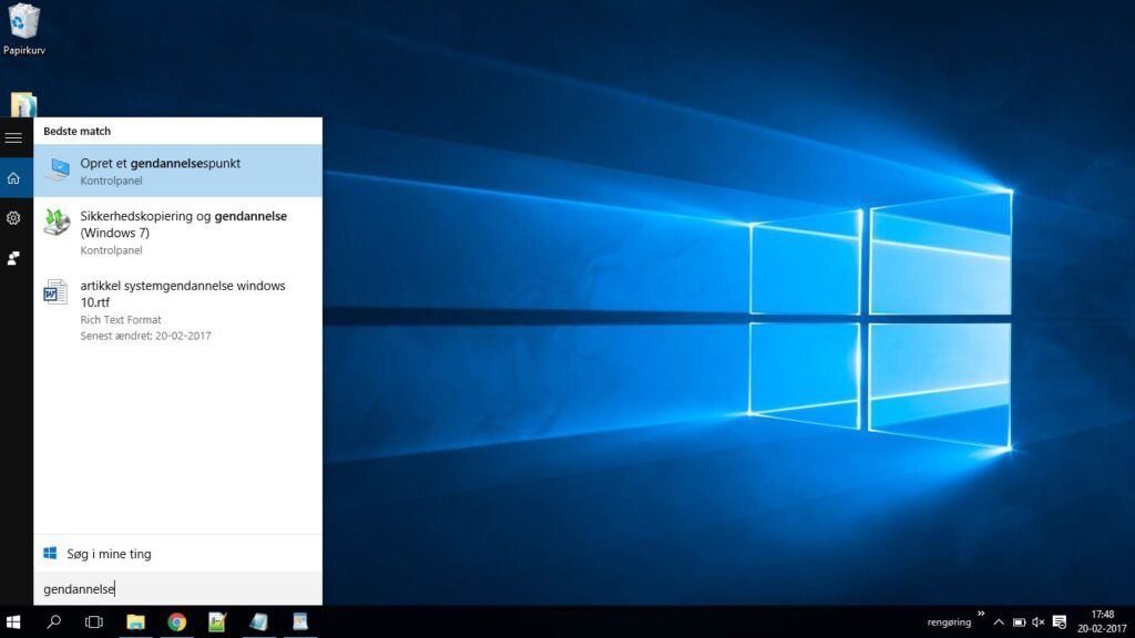 systemgendannelse i Windows 10